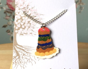 """Mendls Cake Necklace - Digitally Drawn Plastic Necklace on a 16"""" silver plated chain The Grand Budapest Hotel Inspired"""