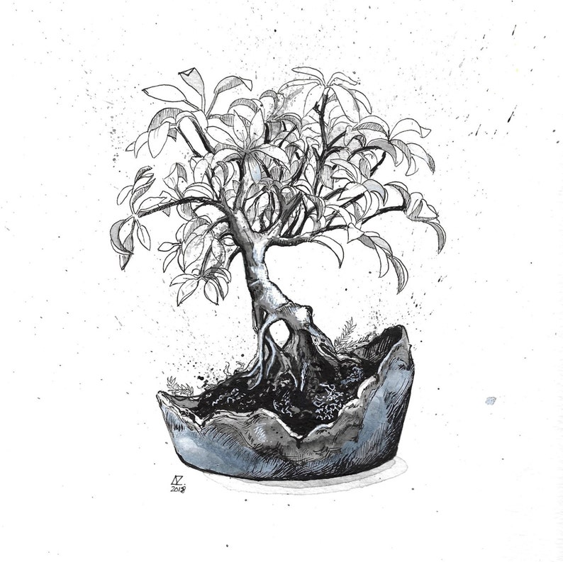 Inktober original pen and ink drawing, black and white Bonsai