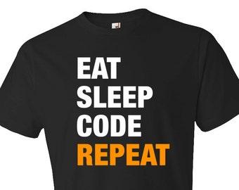 Engineer Gift, Eat Sleep Code Repeat Shirt, Funny Engineer Tee, Engineer Shirt, Code Gift, Code Shirt, Coder Gift, Coder Shirt #OS330