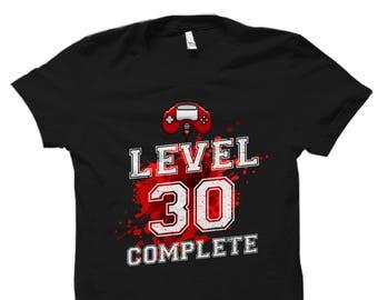 Level 30 Shirt 30th Birthday Gift Gamer Thirty Funny For Him