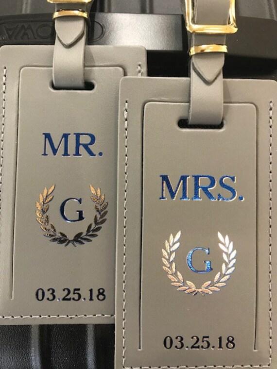 M. et Mme bagage ensemble. Étiquette de bagage en cuir. Étiquettes de bagage personnalisé. Cadeau de mariage. Cadeau d'anniversaire. En cuir étiquette bagages.
