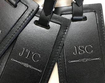 Luggage tag, monogrammed luggage tag, Leather luggage tag initials, custom luggage tag. Personalized luggage tag.