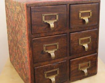 Oak Filing Cabinet Desktop 6 Drawer Library Card Index 1930's Antique Vertical