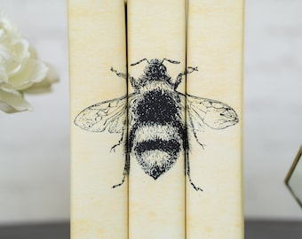 Bee Decorative Books with Custom Book Covers - Decorative Books - Interior Design Books - Custom book jackets - Custom Books - Bookcase