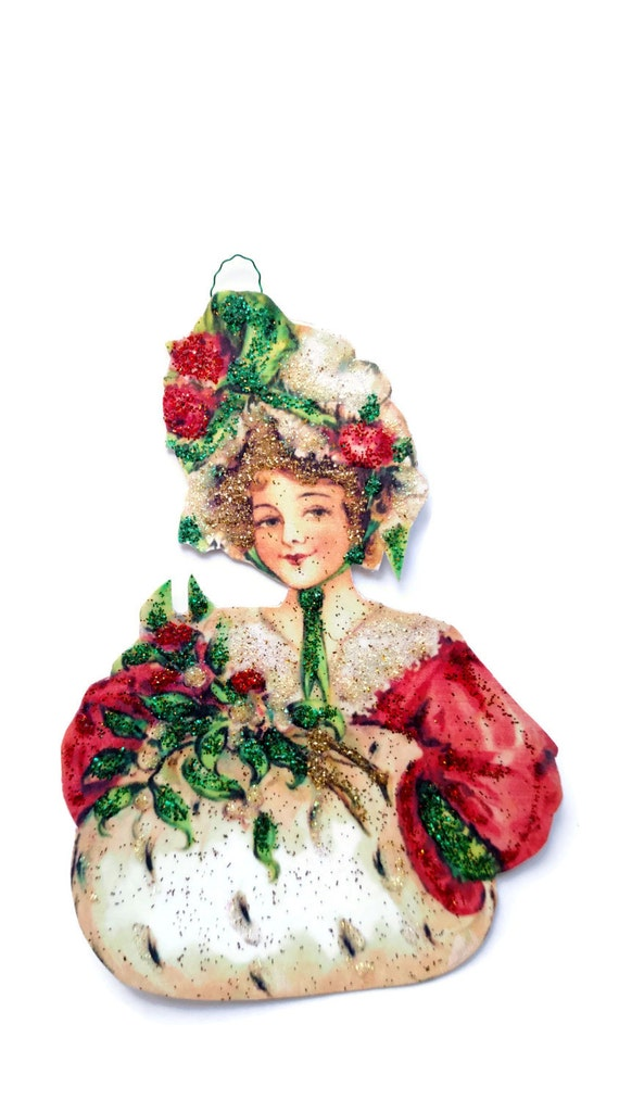Christmas Imagery.Christmas Tree Ornament Decoration Vintage Imagery Gold Glitter Sparkles Victorian Lady Holly Holiday Gift Handmade Recycled Ooak Ephemera