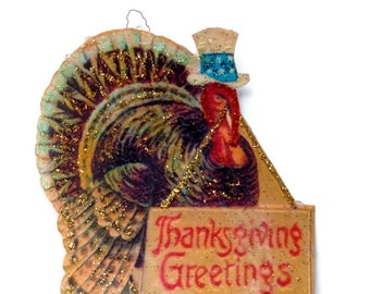 Thanksgiving Ornament Decoration, Vintage Imagery Gold Glitter Sparkles, Patriotic American Turkey Decor Handmade Recycled OOAK Ephemera RTS
