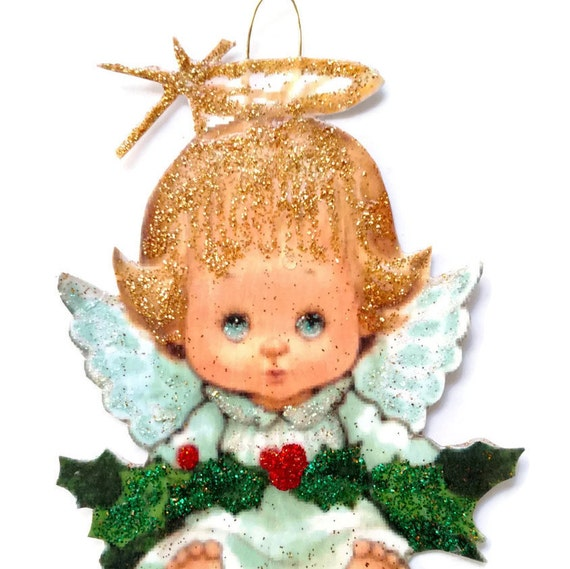 Christmas Imagery.Christmas Tree Ornament Angel Decoration Vintage Imagery Gold Glitter Sparkles Wings Halo Gift Holiday Handmade Recycled Ooak Ephemera