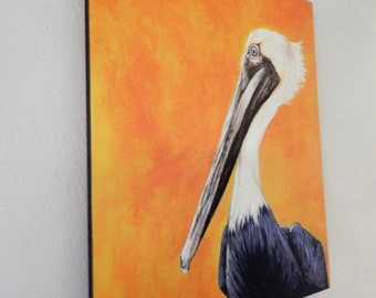 Pelican painting on wood panel