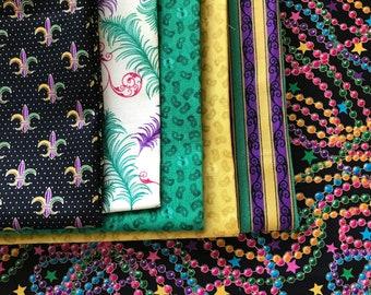 DESTASH! Mardi Gras fabric bundle, prints from Kaufman & Quilting Treasures, beads, masks, feathers, stripes, purple gold green, 4.87 yds!