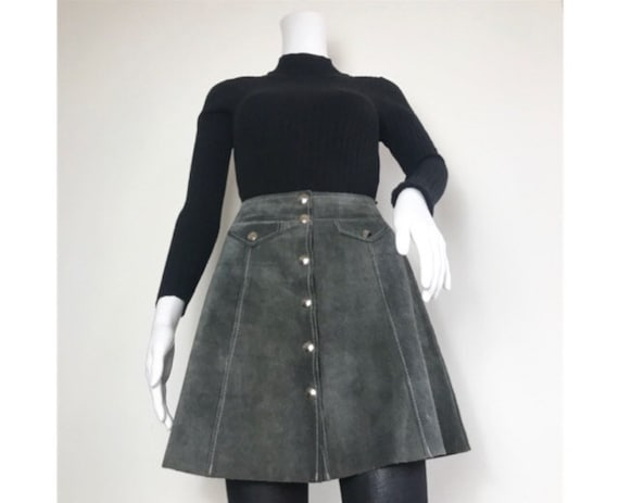Vintage 1960s Grey Panel Patchwork Suede High Wais