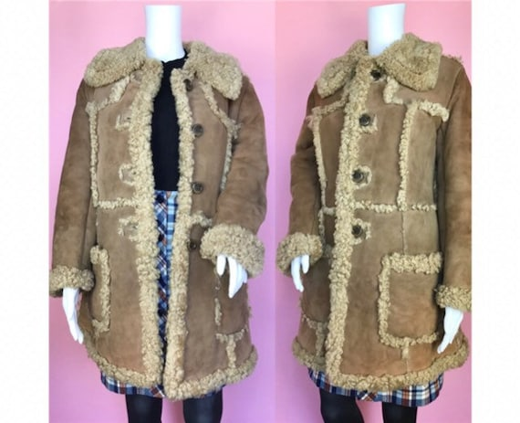 Vintage 1970s Suede Afghan Sheepskin Penny Lane Lo