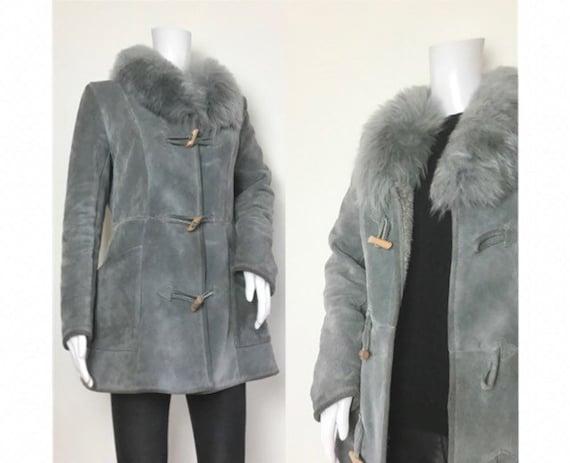 Vintage 1970s Grey Sheepskin Fur Collar Penny Lane