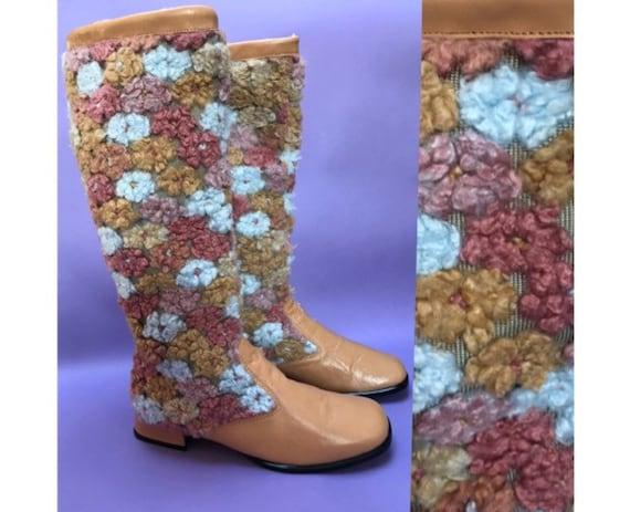 Vintage 1960s Tan Blue Pink Crochet Tapestry Flora