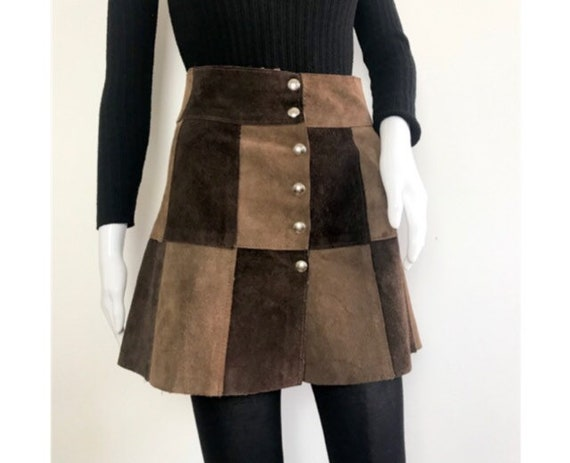 Vintage 1960s Brown Tan Suede Patchwork High Waist