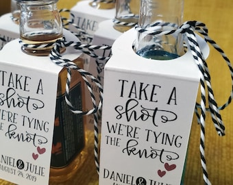 Take a Shot We're Tying the Knot Bottle Tags, Wedding Favor Bottle Tags (30 tags)