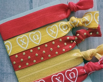 Chi Omega  Hair Ties - CO Sorority Elastic Hair Ties