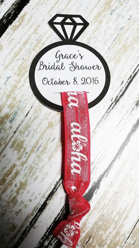 Aqua /& Peach Paisley Elastic Hair Tie Diamond Engagement Ring Display Card Custom Bridal Shower Favor Bachelorette Party Favor
