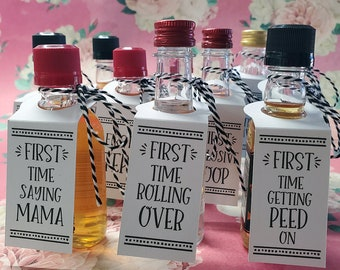 Baby's Firsts, New Mom Gift, Fun & Unique Baby Shower Gift, Baby Milestones, Add Tags to Shot Bottles-Alcohol/Empty bottles not included