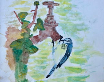 Watercolor Thirsty Bird. Original watercolor painting on paper