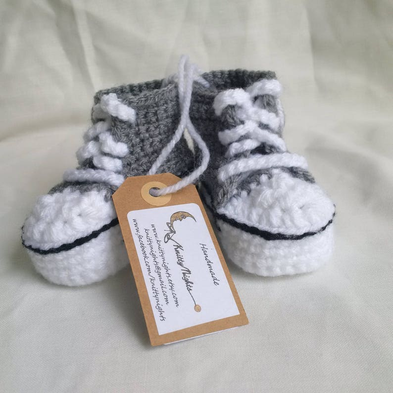 Grey Converse baby crochet sneakers