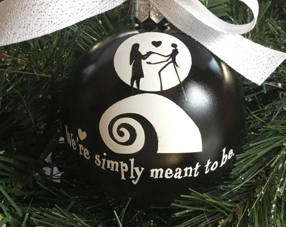Personalized Glass Wedding Ornament - Wedding Gift - Nightmare Before Christmas - Black and White Jack and Sally