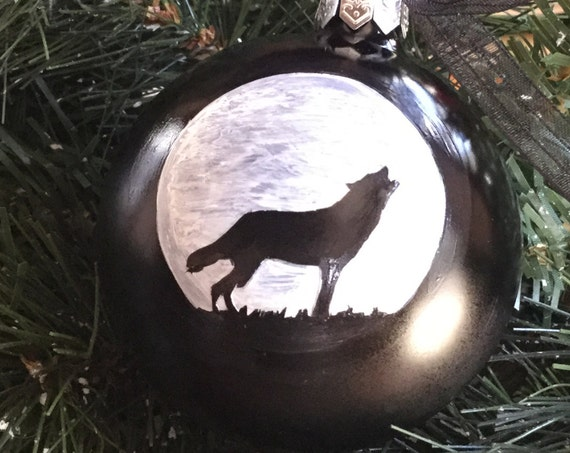 Personalized Wolf Christmas Ornament - Wolf Howling in the Moonlight Ornament