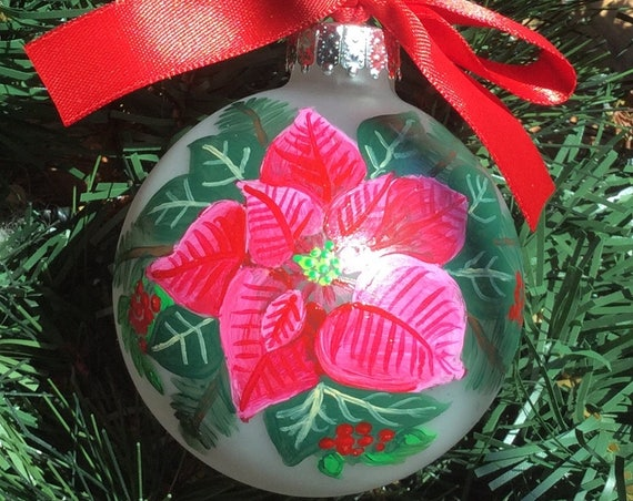 Hand Painted Poinsettia Ornament - Glass Poinsettia Christmas Ornament