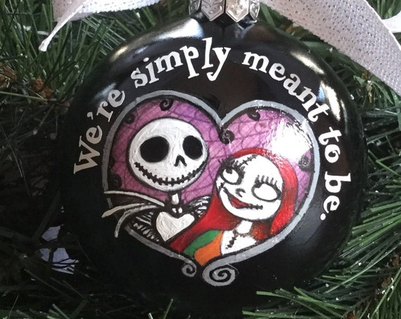 Personalized Glass Wedding Ornament - Wedding Gift - Nightmare Before Christmas - Jack and Sally in a Heart