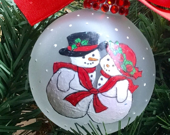 Personalized Snowman Couple Christmas Ornament