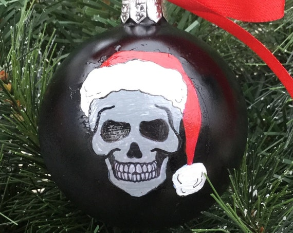 Personalized Skull with Santa Hat Christmas Ornament