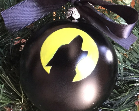 Personalized Wolf Christmas Ornament - Wolf Howling in the Yellow Moonlight Ornament