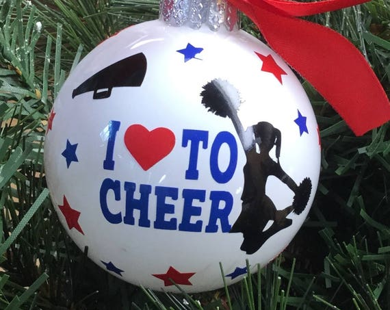 Personalized I Love To Cheer Glass Ornament