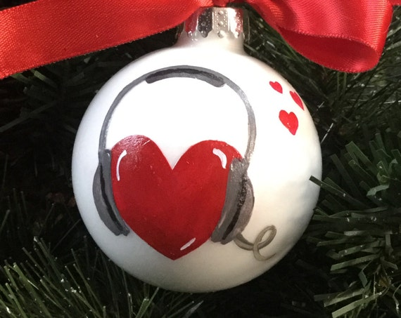Personalized Music Ornament - Love Music Ornament - Hand Painted Glass Christmas Ball - Heart with Headphones