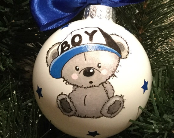 Newborn Baby Boy Bear Ornament - Personalized for Baby Birthday or Christmas - Hand Painted Glass Bauble, New Baby Gift, Baby Shower Gift