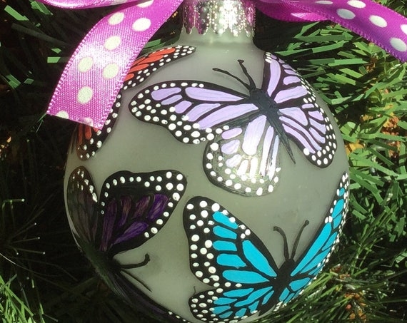Hand Painted Butterfly Ornament - Glass Butterfly Ornament