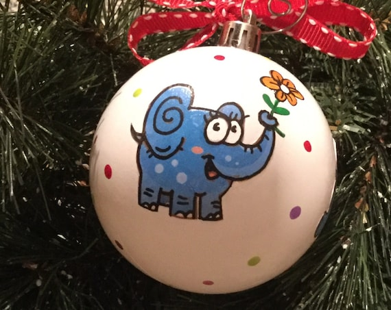 Elephants Shatterproof Christmas Ornament