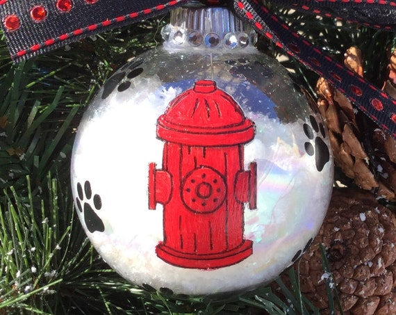 Personalized Dog and Fire Hydrant Christmas Ornament