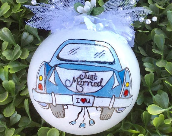 Personalized Hand Painted Wedding Ornament - Just Married Hand Painted Ornament - Wedding Car Ornament