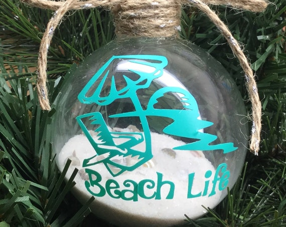 "Personalized ""Beach Life"" Ornament - Sand and Seashell Ornament - Summer Ornament"