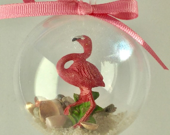 Personalized Flamingo Ornament - Sand and Seashell Ornament - Summer Ornament