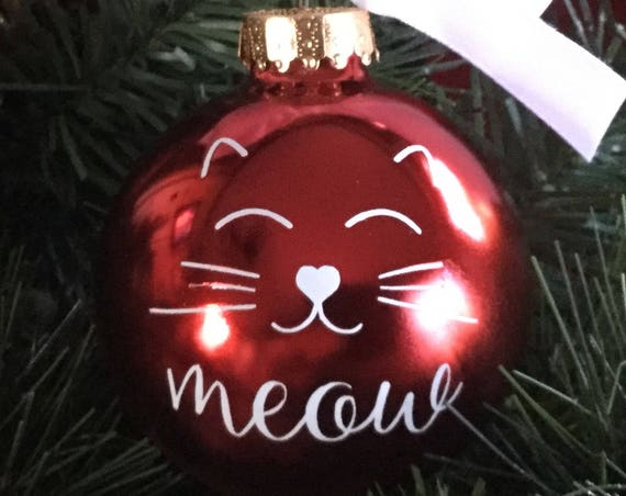 Cat Face Christmas Ornament - Personalized Cat Ornament