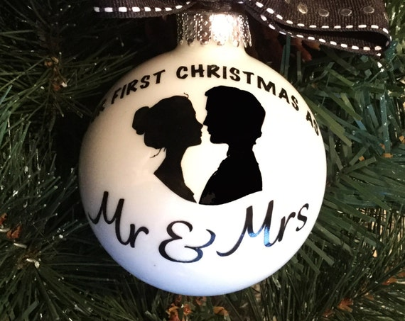 First Christmas as Mr & Mrs Ornament - Personalized Wedding Ornament - Holiday Ornament