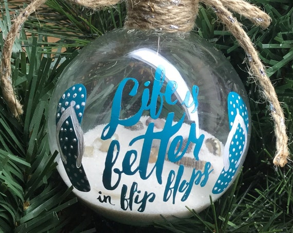 """Personalized """"Life is Better in Flip Flops"""" Ornament - Sand and Seashell Ornament - Summer Ornament"""