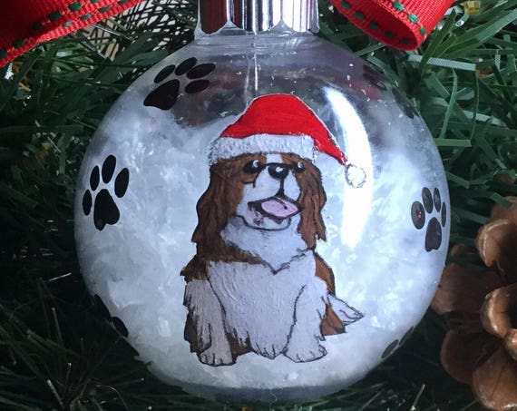 Personalized Hand Painted King Charles Cavalier Dog Christmas Ornament