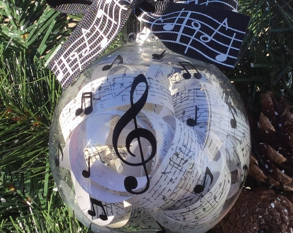 Personalized Music Themed Ornament - Glass Music Themed Christmas Ball- Ornament for Music Teacher - Musical Notes
