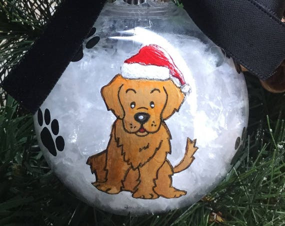 Personalized Hand Painted Golden Retriever Dog Christmas Ornament