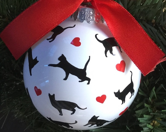Cat Silhouettes and Hearts Christmas Ornament - Personalized Cat Ornament