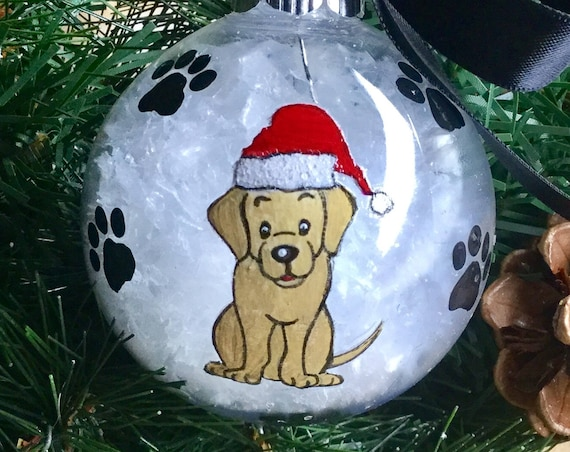 Personalized Hand Painted Labrador Retriever Dog Christmas Ornament