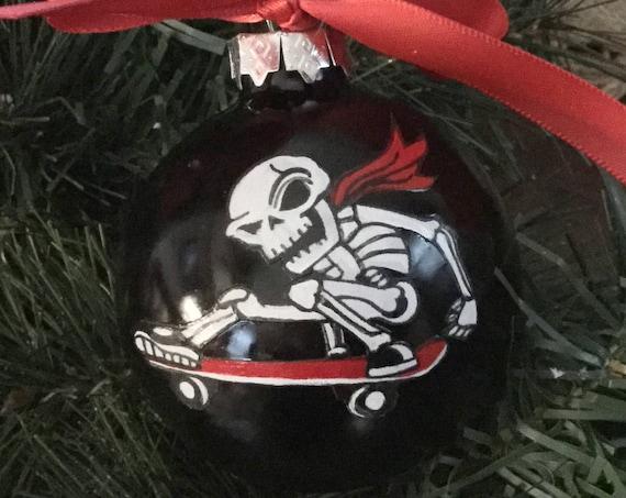 Personalized Skateboarding Skeleton Christmas Ornaments