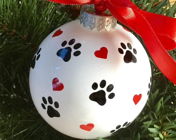 Dog Paw Print and Hearts Christmas Ornament - Personalized Dog Ornament